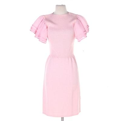 St. John for Saks Fifth Avenue Pink Knit Ribboned Ruffle Sleeve Dress