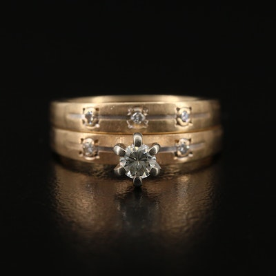 14K Diamond Ring and Band Set
