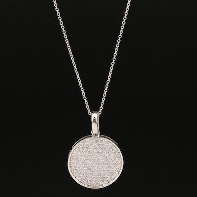 Sterling Cubic Zirconia Disk Pendant Necklace