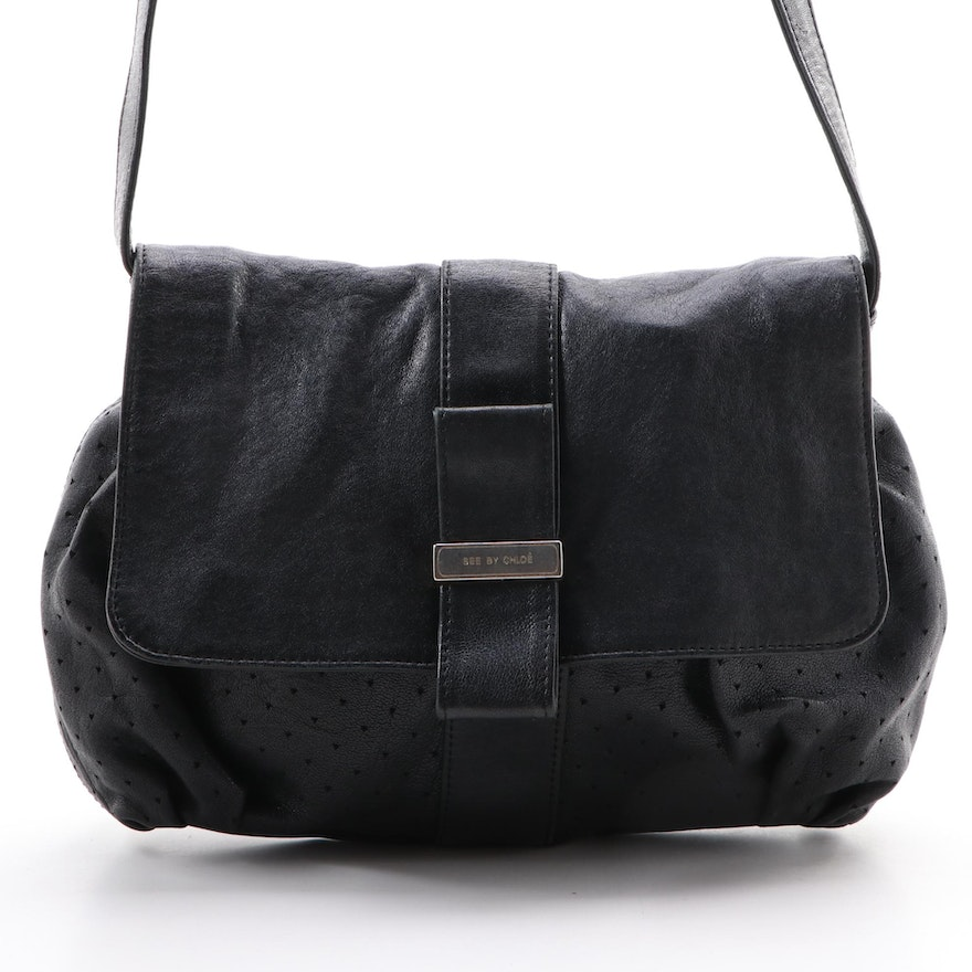 See by Chloé Lifou Black Perforated Leather Crossbody Bag