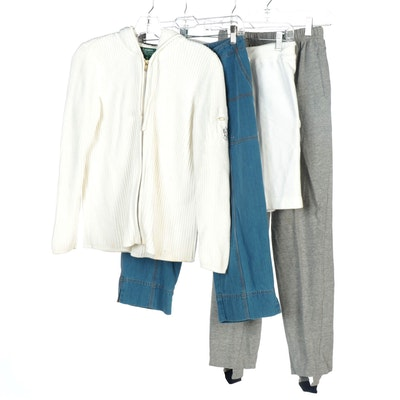 Ralph Lauren Brand Rib Knit Hoodie, Crop Jeans, Cotton Shorts and Stirrup Pants