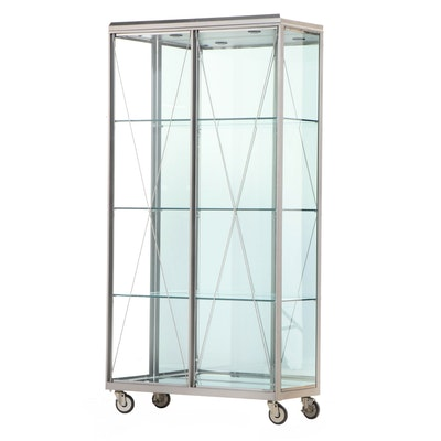 Industrial Style Glass and Metal Illuminated Display Cabinet