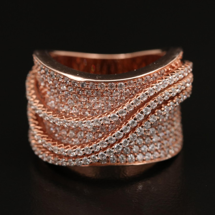 Sterling Pavé Cubic Zirconia Wave Saddle Ring