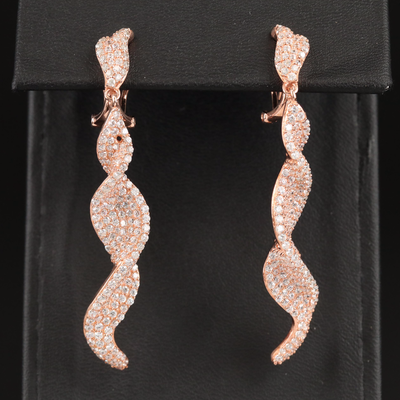 Sterling Silver Cubic Zirconia Twist Drop Earrings