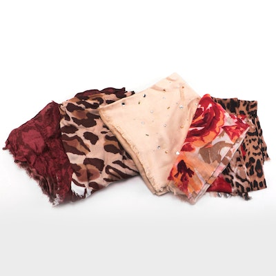 INC International Concepts Embellished and Animal Print Eyelash Fringe Scarves