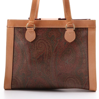 ETRO Paisley Print Tote Bag in Coated Canvas and Leather