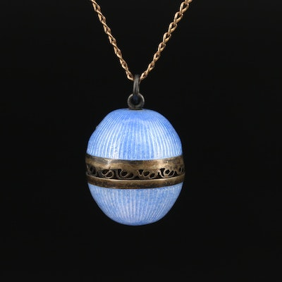 Vintage 800 Silver Guilloché Enamel Egg Pendant on Curb Chain Necklace