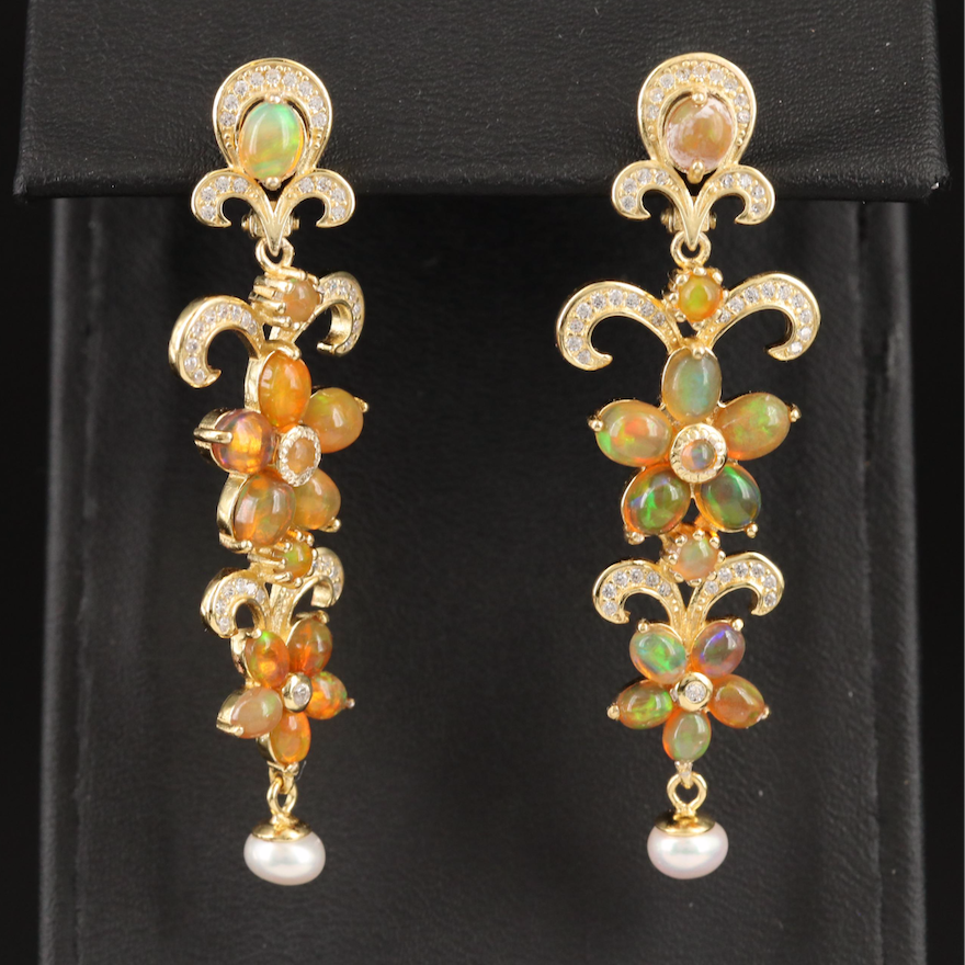 Sterling Silver Opal, Pearl and Cubic Zirconia Floral Earrings