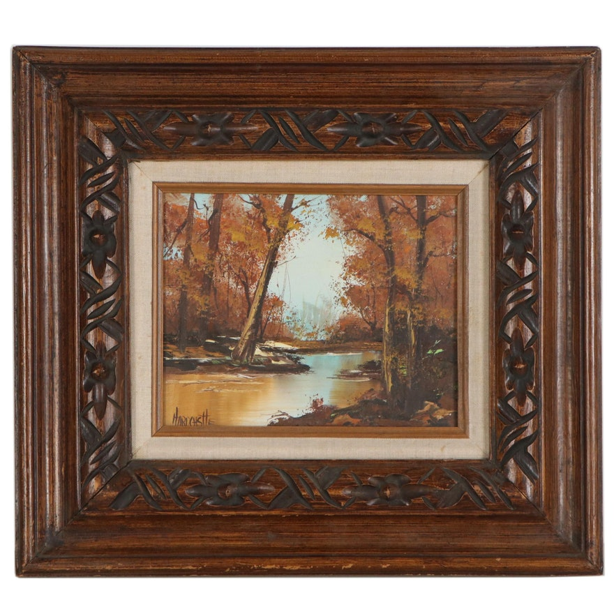 Landscape Oil Painting of River Scene, Late 20th Century