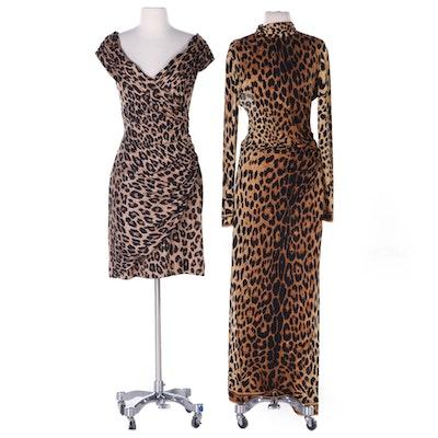 Leonard Paris and Rentillo for Saks Fifth Avenue Leopard Print Dresses