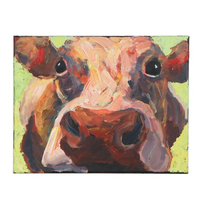 Elle Raines Acrylic Painting of Cow, 21st Century
