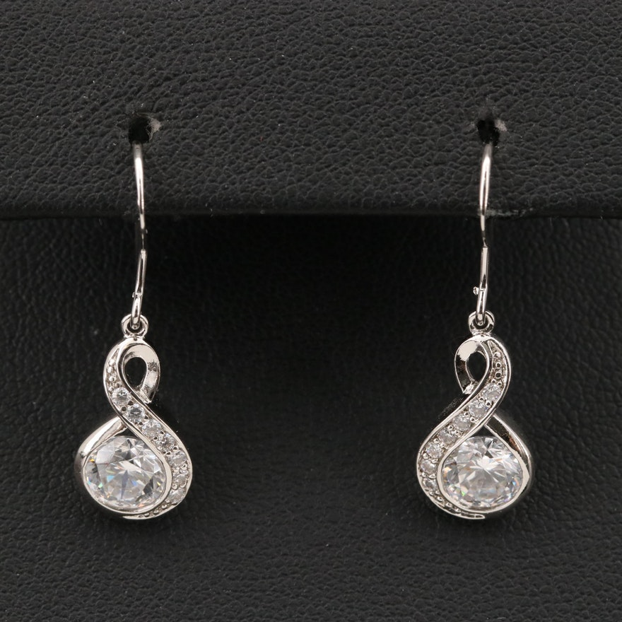 Sterling Cubic Zirconia Infinity Drop Earrings