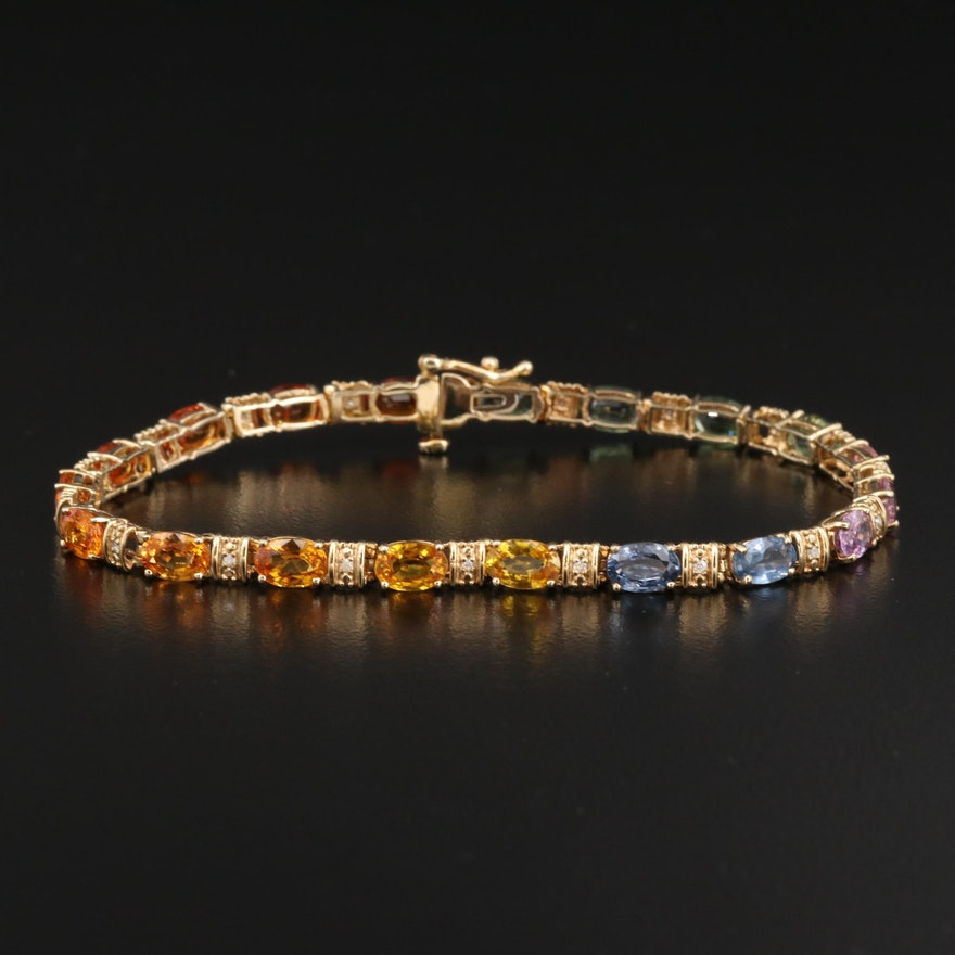 14K Multi-Color Sapphire and Diamond Bracelet
