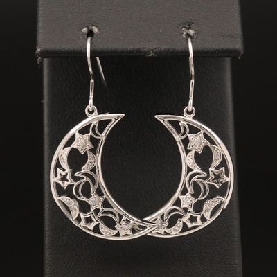 Sterling Cubic Zirconia Moon and Stars Earrings