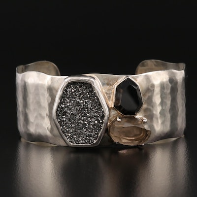"Silpada ""Crystal Cave"" Sterling Silver Pyrite, Black Onyx and Glass Cuff"