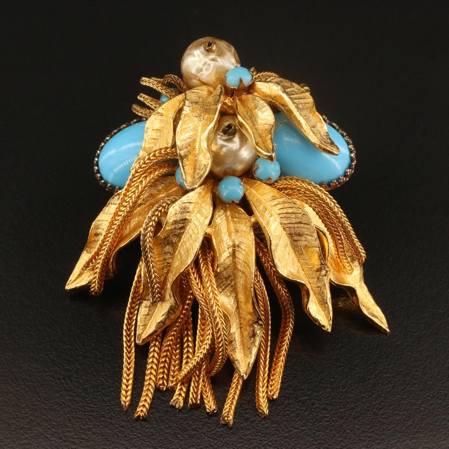Circa 1950 Robert DeMario Faux Pearl and Faux Turquoise Brooch