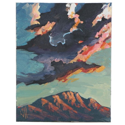 William Hawkins Oil Painting of Mountain Peak, 21st Century