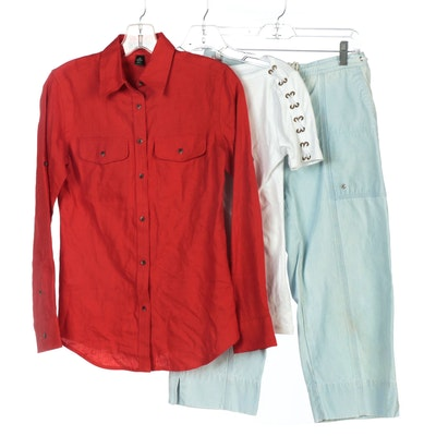 Lauren Jeans Co. Crop Pants, Lauren Ralph Lauren Linen Shirt and Cotton Top