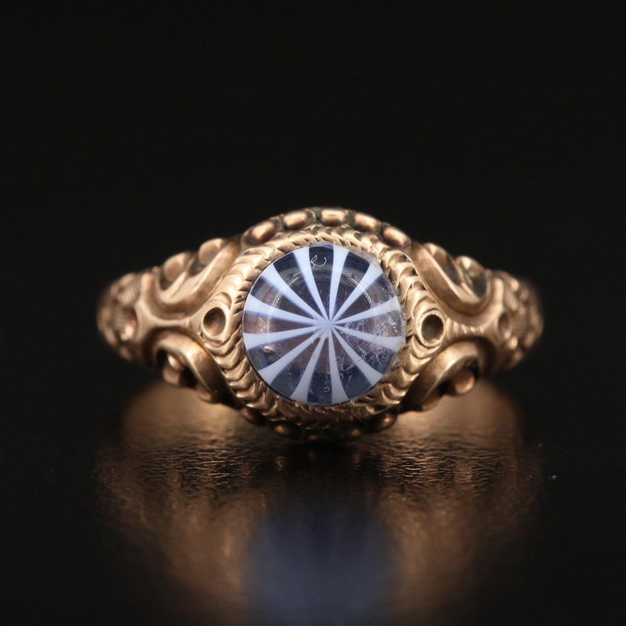 Victorian 9K Glass Ring with Scroll Work