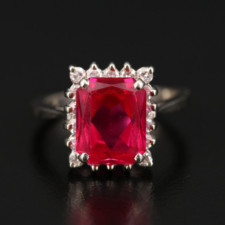14K Ruby Ring with Diamond Accents