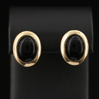 14K Black Onyx Button Earrings
