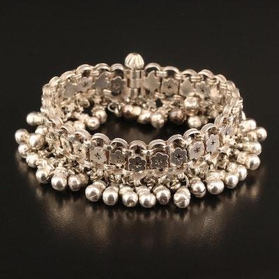 Sterling Silver Floral Fringe Bracelet