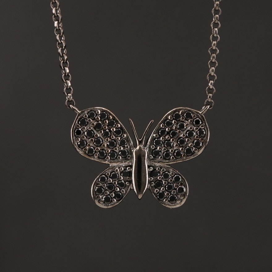 Sterling Cubic Zirconia Butterfly Necklace