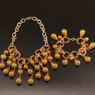 Circa 1940s Bakelite Fringe Necklace and Bracelet Set