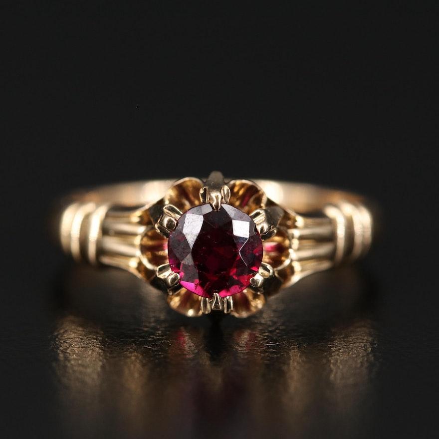 Vintage Style 14K Rhodolite Garnet Ring