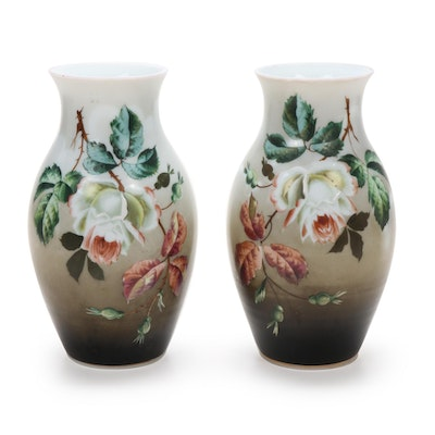 Bristol Victorian Hand-Painted Glass Vases