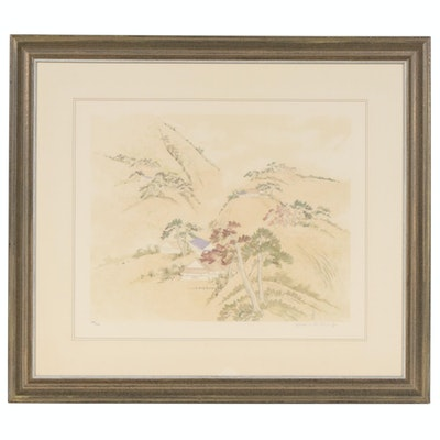 "Diane Hsu Kung Color Lithograph ""Autumn Mountains,"" Late 20th Century"