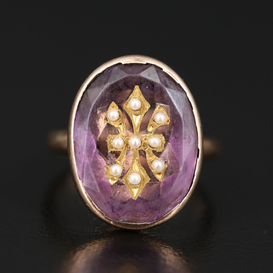 10K Amethyst and Pearl Ring