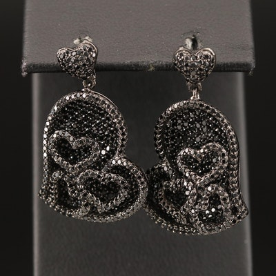 Sterling Spinel Heart Earrings