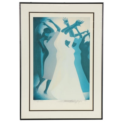 """Bernard Stanley Hoyes Offset Lithograph """"Hexing Rites,"""" Late 20th Century"""