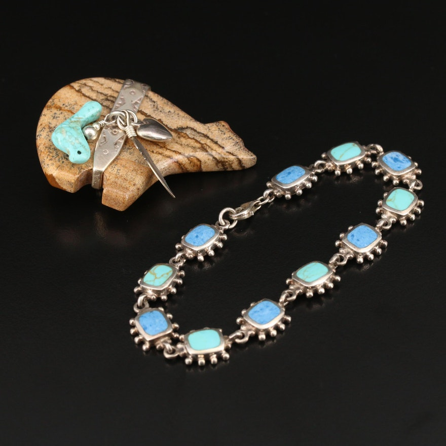 Sterling Jasper and Turquoise Jewelry Featuring Carlisle Jewelry Bear Brooch