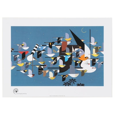 """Offset Lithograph after Charley Harper """"Mystery of the Missing Migrants"""""""