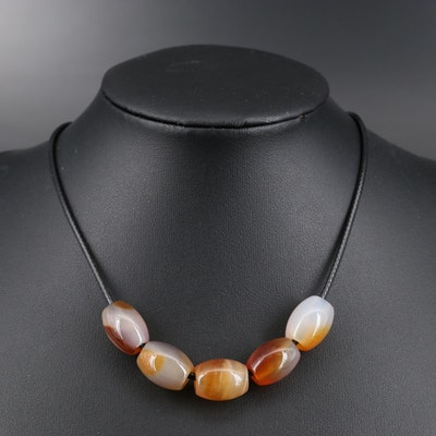 Agate Bead on Leather Cord Necklace