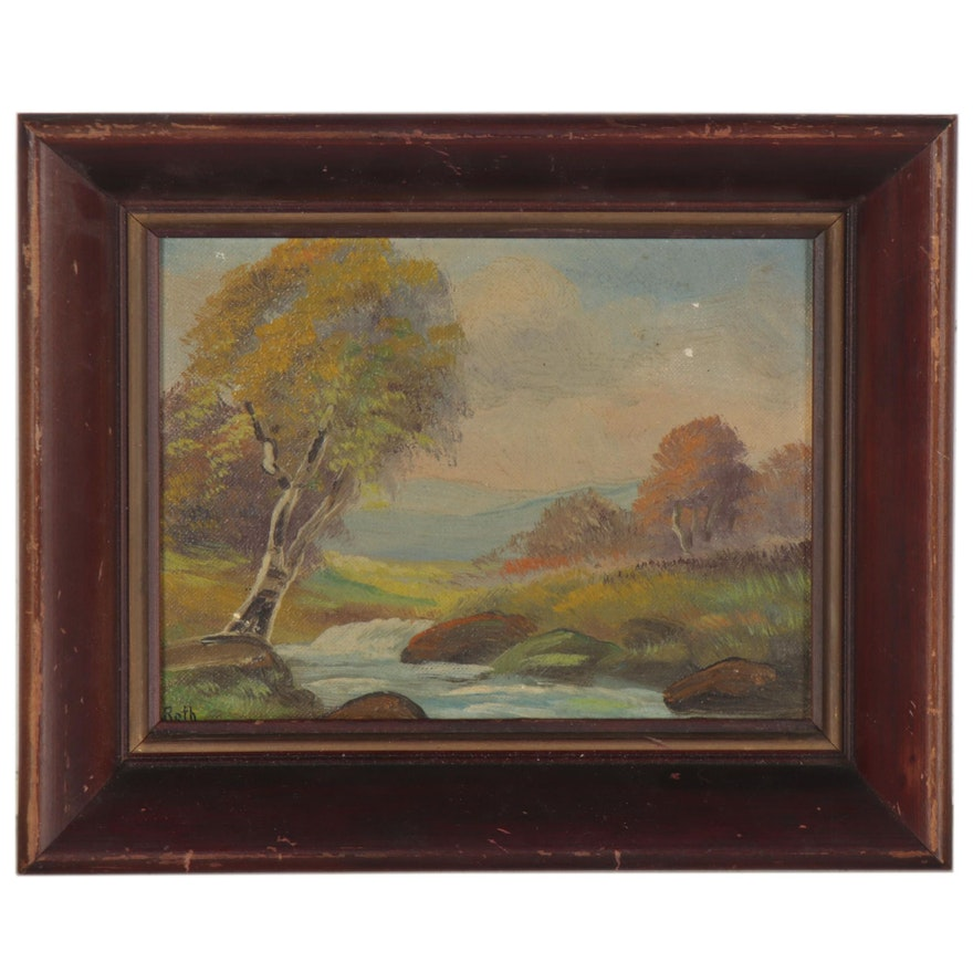 Carl Roth Landscape Oil Painting, Mid-20th Century