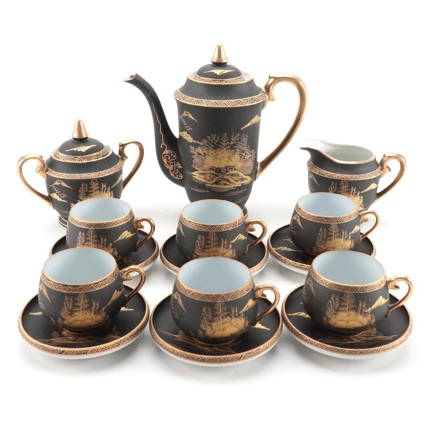 Japanese Hand Painted Geisha Lithophane Porcelain Tea and Coffee Set