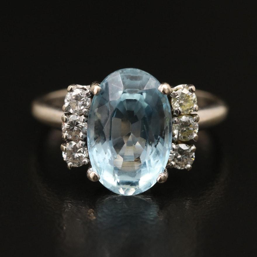 14K 3.50 CT Aquamarine and Diamond Ring