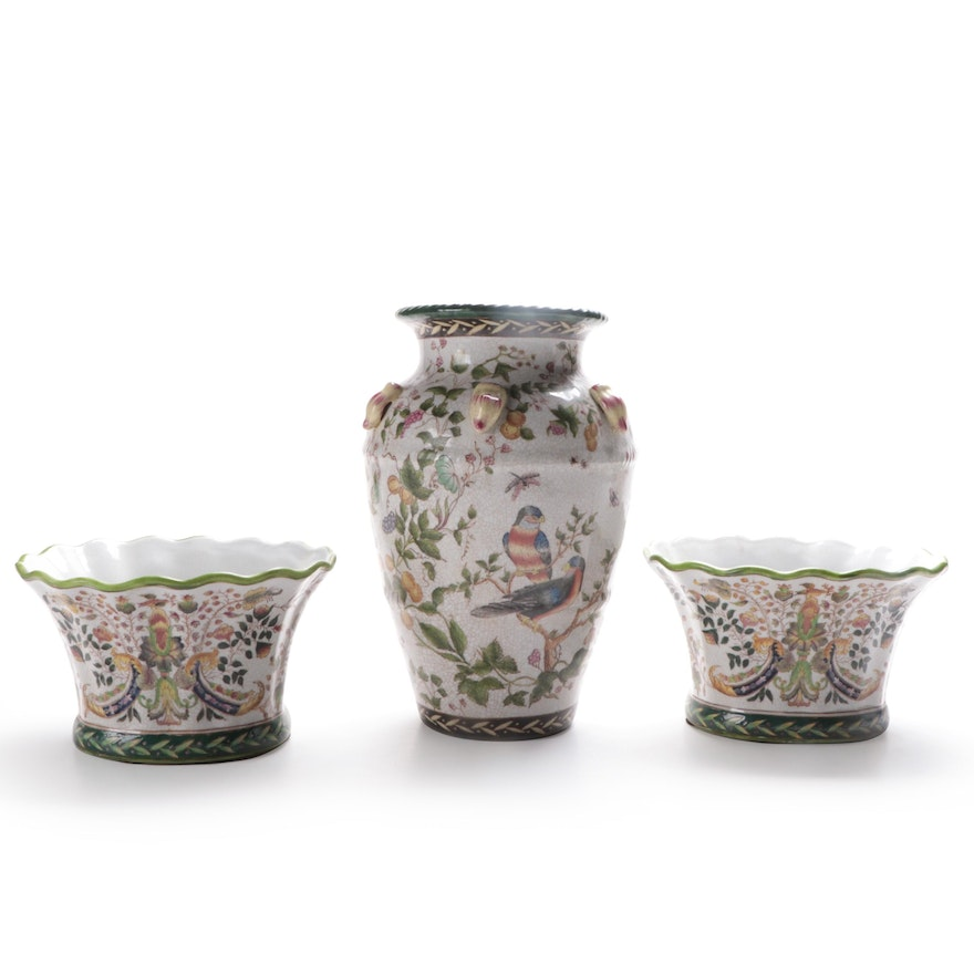 Chinese Ceramic Vase and Planters, Late 20th Century