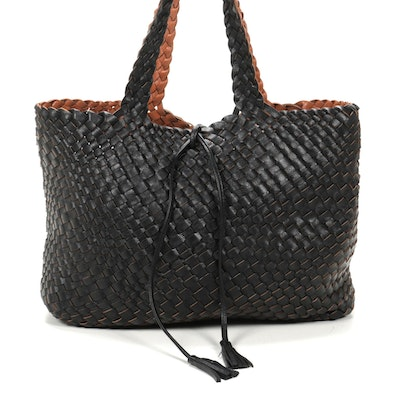Tote Bag in Woven Black and Cognac Faux Leather