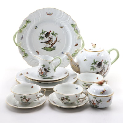 "Herend Hand-Painted ""Rothschild Bird"" Porcelain Dinnerware"