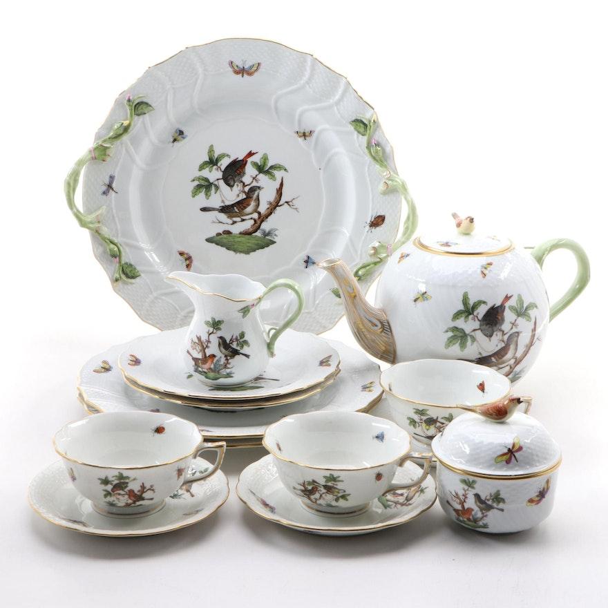 "Herend Hand-Painted ""Rothschild Bird"" Porcelain Dinnerware"