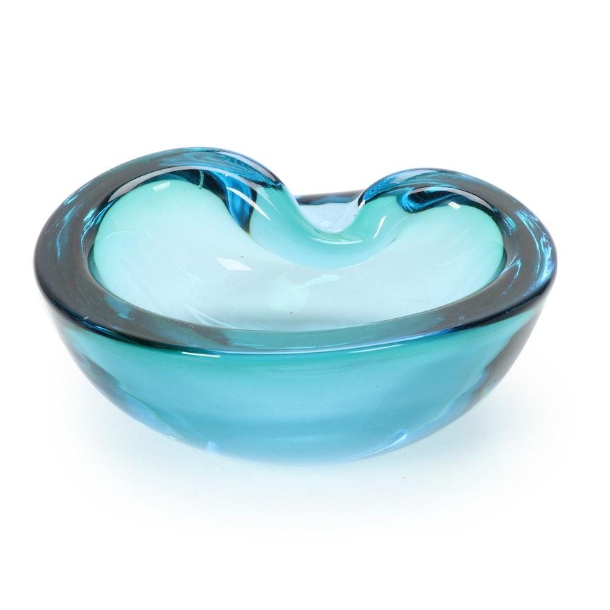 Hand-Blown Colored Glass Ashtray