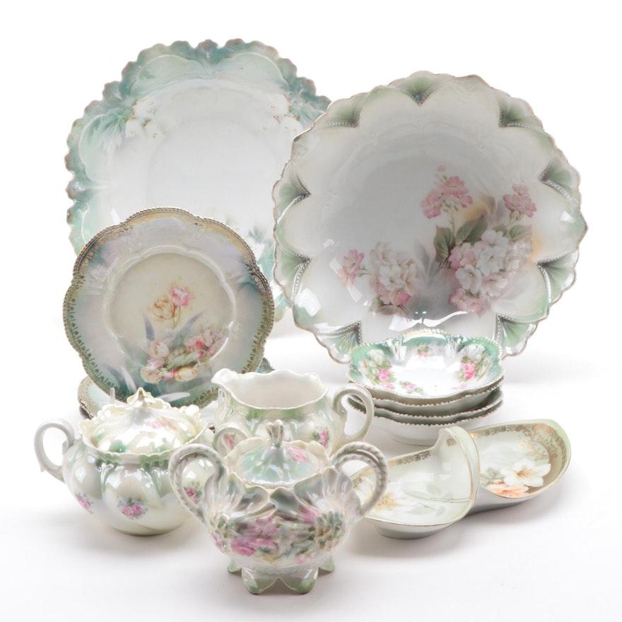 Reinhold Schlegelmilch German Floral Porcelain Creamer, Sugar, Bowls, and More