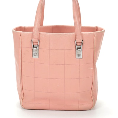 Chanel Square Stitch Chocolate Bar Tote in Pink Caviar Leather