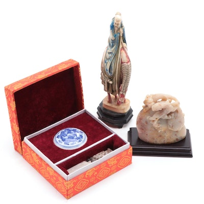 Chinese Carved Marble Seal and Seal Paste, Wandering Sage Toba Figurine and More