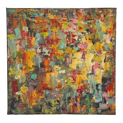 "Sam Raines Abstract Acrylic Painting ""Surfacing,"" 21st Century"
