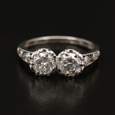Vintage Platinum 1.04 CTW Diamond Toi et Moi Ring